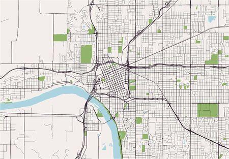 map of the city of Tulsa, Oklahoma, USA  イラスト・ベクター素材