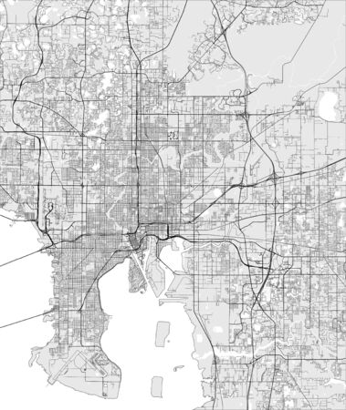 map of the city of Tampa, USA