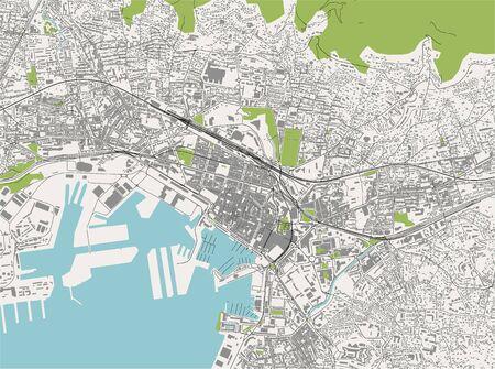 map of the city of Toulon, Var, Provence-Alpes-Cote dAzur, France
