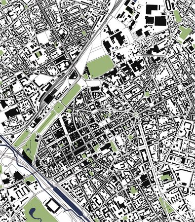 map of the city of Reims, Marne, Grand Est, France  イラスト・ベクター素材