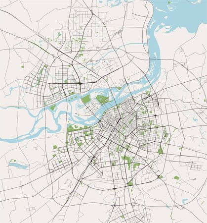 map of the city of Harbin, China
