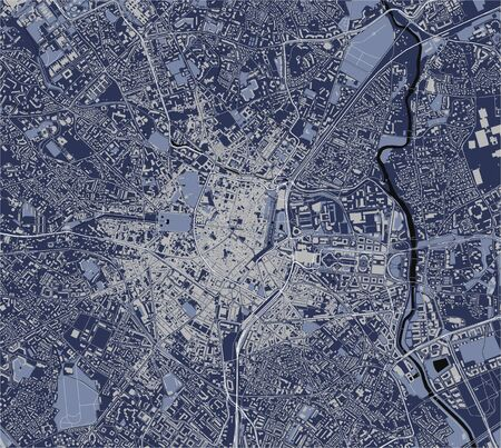 map of the city of Montpellier, Herault, Occitanie, France