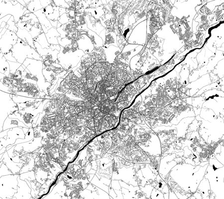 map of the city of Limoges, Haute-Vienne, Nouvelle-Aquitaine, France