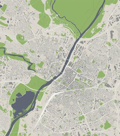map of the city of Angers, Maine-et-Loire, Pays de la Loire, France Illustration