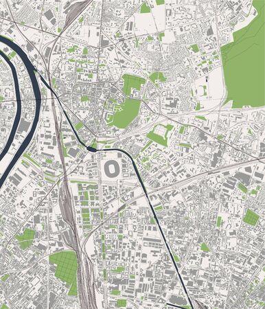 map of the city of Saint-Denis, Seine-Saint-Denis, Ile-de-France, France  イラスト・ベクター素材