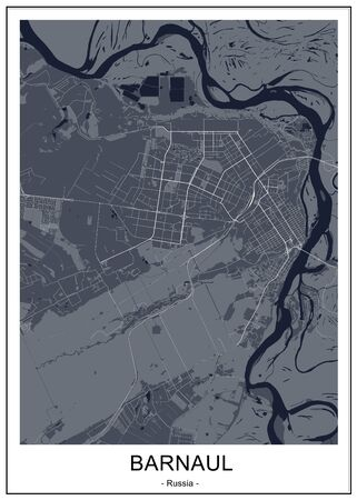 map of the city of Barnaul, Russia
