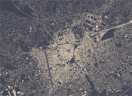 vector map of the city of Nimes, Gard, Occitanie, France Illusztráció