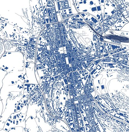 vector map of the city of Saint-Etienne, Loire, Auvergne-Rhone-Alpes, France  イラスト・ベクター素材