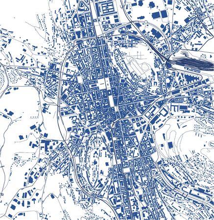 vector map of the city of Saint-Etienne, Loire, Auvergne-Rhone-Alpes, France Illusztráció
