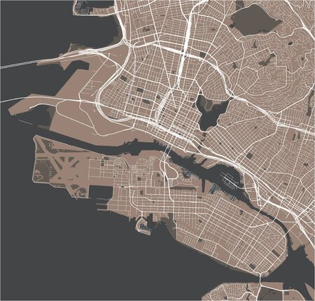 vector map of the city of Oakland, California, United States America