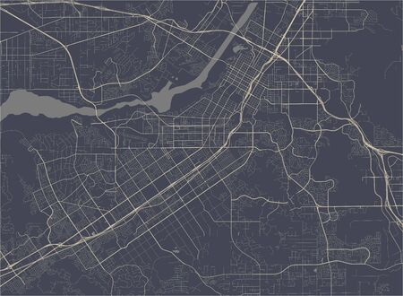 vector map of the city of Riverside, California, United States America