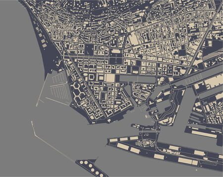 vector map of the city of Le Havre, Seine-Maritime, Normandy, France  イラスト・ベクター素材