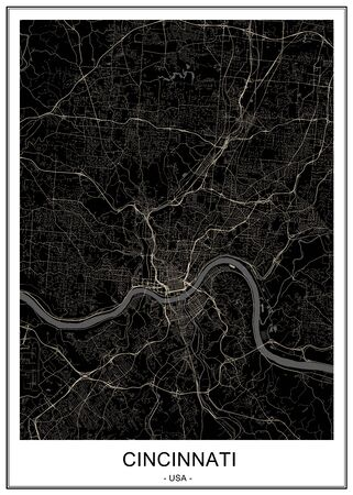 vector map of the city of Cincinnati,State Ohio, USA, , and is the government seat of Hamilton County. Illusztráció
