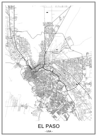 vector map of the city of El Paso, Texas, USA 向量圖像