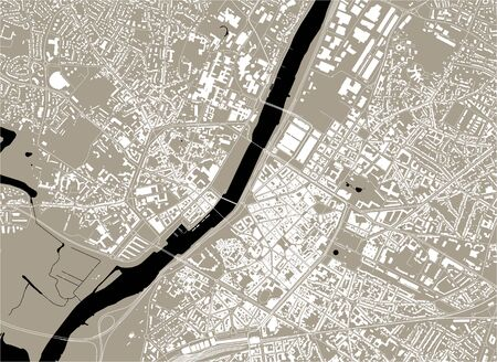 vector map of the city of Angers, Maine-et-Loire, Pays de la Loire, France Illustration