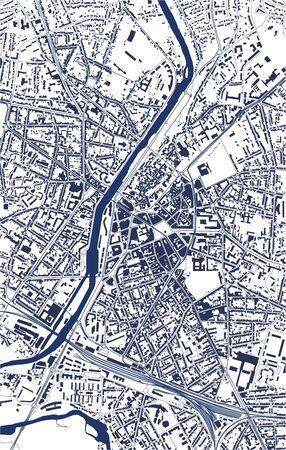 vector map of the city of Le Mans, Sarthe, Pays de la Loire, France