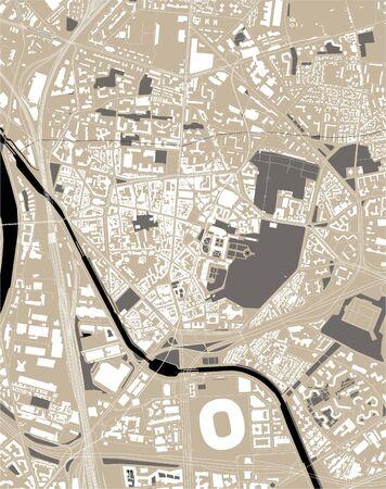 map of the city of Saint-Denis, Seine-Saint-Denis, Ile-de-France, France Illustration