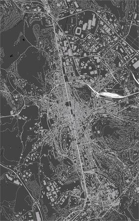 map of the city of Saint-Etienne, Loire, Auvergne-Rhone-Alpes, France Illustration