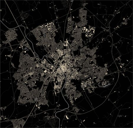 vector map of the city of York, North Yorkshire, Yorkshire and the Humber , England, UK