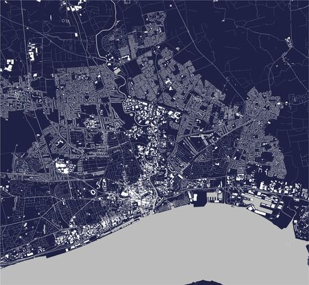vector map of the city of upon Hull, East Riding of Yorkshire, Yorkshire and the Humber, England, UK