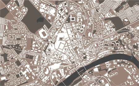 vector map of the city of Newcastle upon Tyne, Tyne and Wear, North East England, England, UK  イラスト・ベクター素材