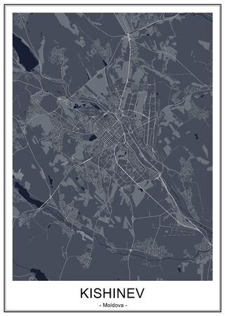 map of the city of Chisinau, Moldova