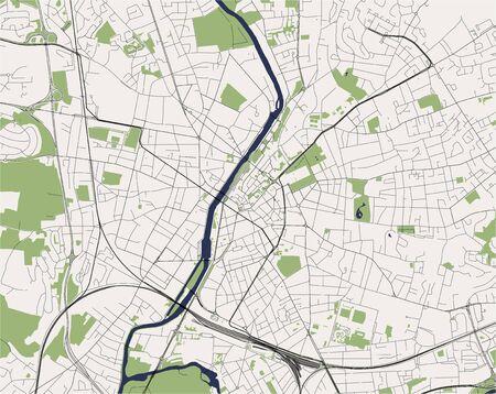 map of the city of Le Mans, Sarthe, Pays de la Loire, France