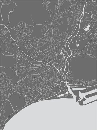vector map of the city of Swansea, Glamorgan, West Glamorgan, Wales, UK