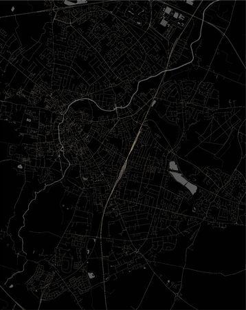 map of the city of Cambridge, Cambridgeshire, East of England, England, UK
