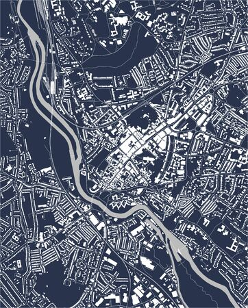 map of the city of Exeter, England, UK