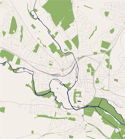 map of the city of Salisbury, England, UK