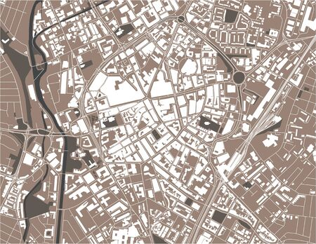 map of the city of Leicester, England, UK Иллюстрация