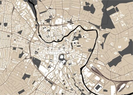 map of the city of Norwich, England, UK