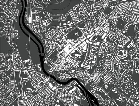 vector map of the city of Exeter, Devon, South West England, England, UK