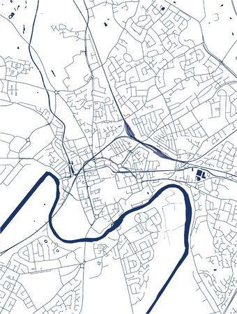 vector map of the city of Chester, Cheshire, North West England, England, UK