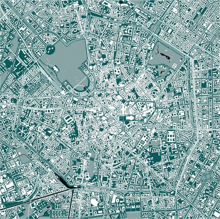 vector map of the city of Milan, capital of Lombardy, Italy Ilustração