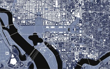 vector map of the city of Washington D.C., USA Иллюстрация