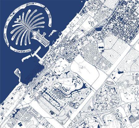 map of the city of Dubai, United Arab Emirates UAE Иллюстрация
