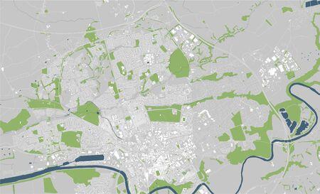map of the city of Preston, England, UK