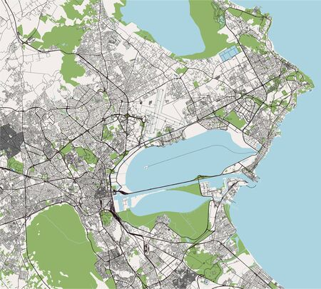 map of the city of Tunis, Tunisia