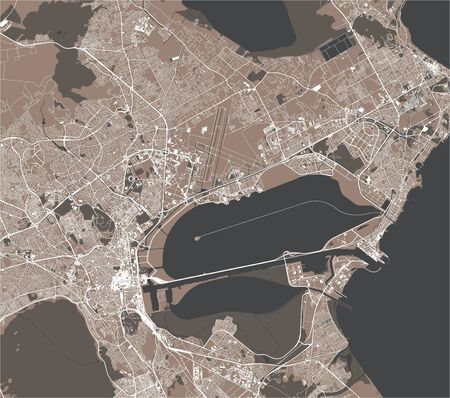 vector map of the city of Tunis, Tunis Governorate, Tunisia Imagens - 149340144