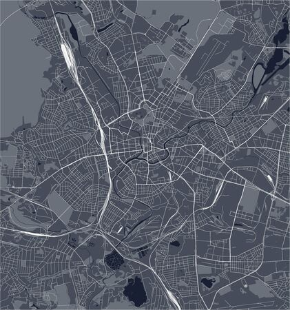 vector map of the city of Kharkiv, Kharkiv Oblast, Ukraine