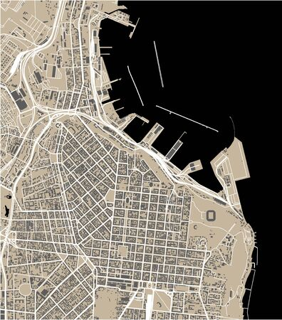 vector map of the city of Odessa, Odessa Oblast, Ukraine Ilustração