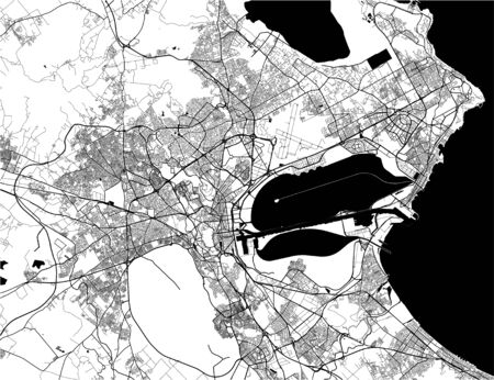 vector map of the city of Tunis, Tunis Governorate, Tunisia Ilustração
