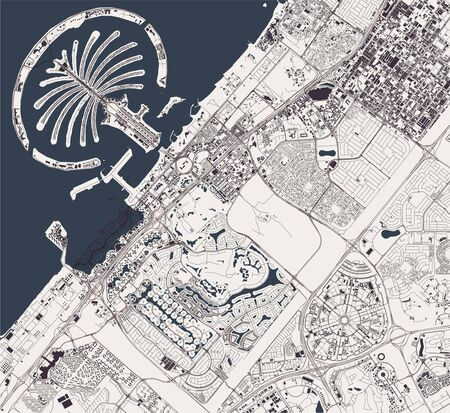 vector map of the city of Dubai, United Arab Emirates, UAE, Dubai-Sharjah-Ajman metropolitan area Ilustração