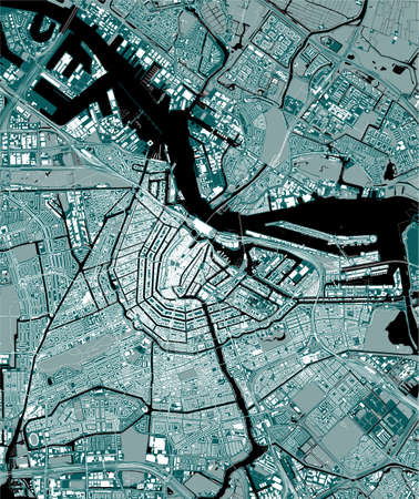 map of the city of Amsterdam, Netherlands