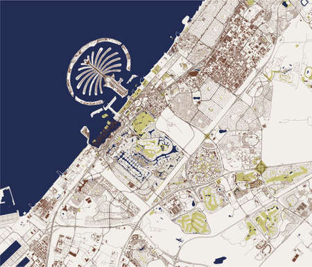 map of the city of Dubai, United Arab Emirates UAE Ilustração