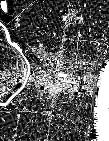 map of the city of Philadelphia, Pennsylvania, USA Ilustrace