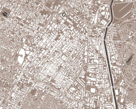 map of the city of Los Angeles, USA 矢量图像