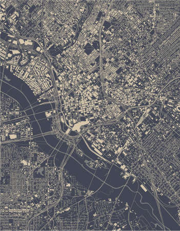 map of the city of Dallas, Texas, USA
